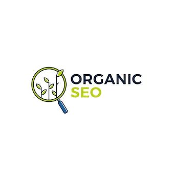 Illustrazione organica dell'icona di logo di ricerca della foglia del germoglio di seo