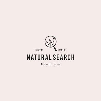 Illustrazione organica dell'icona di vettore di logo di ricerca della foglia del germoglio di seo