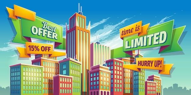 Illustrazione orizzontale del fumetto, bandiera, fondo urbano con il paesaggio della città