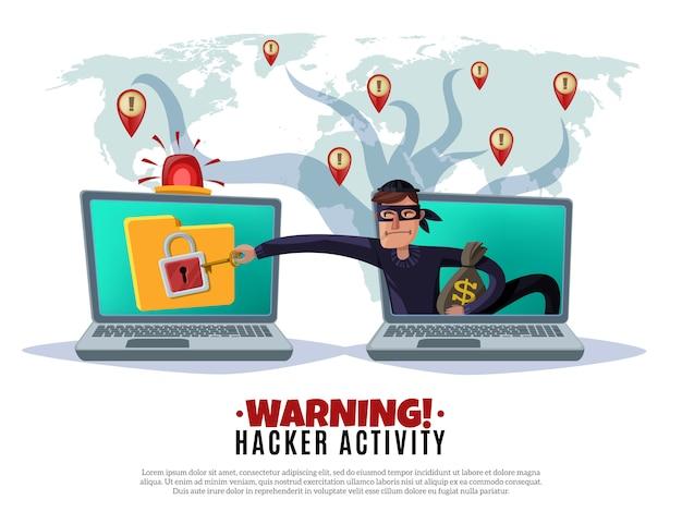 Illustrazione orizzontale del fumetto di attività del pirata informatico