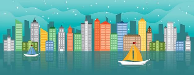 Illustrazione orizzontale del punto di riferimento di paesaggio urbano di concetto di vita di città