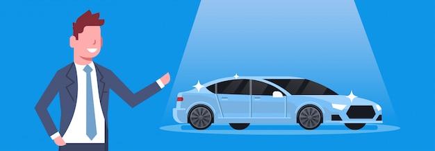 Illustrazione orizzontale di concetto di showroom del centro di concessionaria dell'automobile del nuovo presente dell'uomo del venditore