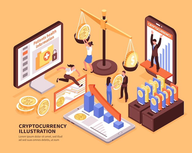 Illustrazione orizzontale isometrica variopinta di vettore di concetto 3d di crescita del bitcoin di criptovaluta