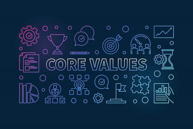 Illustrazione orizzontale orizzontale del profilo di valori fondamentali