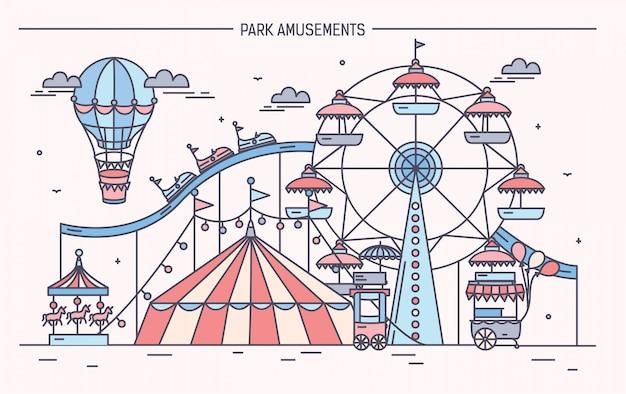 Illustrazione orizzontale piacevole del parco di divertimenti. circo, ruota panoramica, attrazioni, vista laterale con aerostato in aria. illustrazione vettoriale di linea colorata arte.