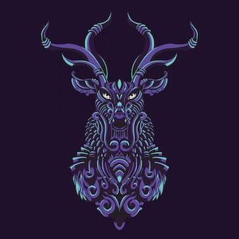 Illustrazione ornamentale di cervo
