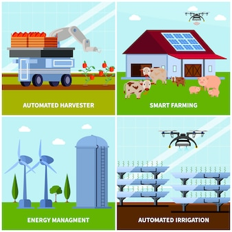 Illustrazione ortogonale di concetto di smart farming