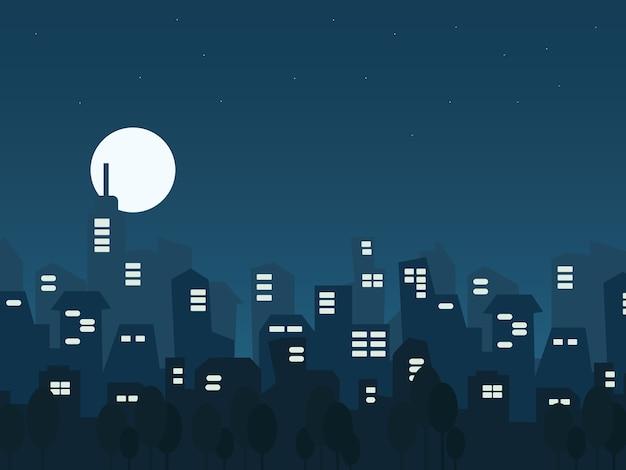 Illustrazione paesaggio urbano notturno in stile piatto