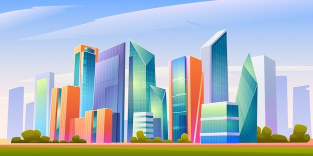 Illustrazione panoramica dell'orizzonte urbano della costruzione