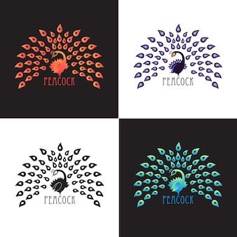 Illustrazione pavone, set di design logo. vector astratto logo di uccello colorato pavone con corona sullo sfondo. modello per icona, logo, stampa, tatuaggio. coda di pavone aperta. vista frontale.