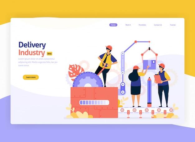 Illustrazione per articoli di deposito di magazzino di consegna e trasporto di transito