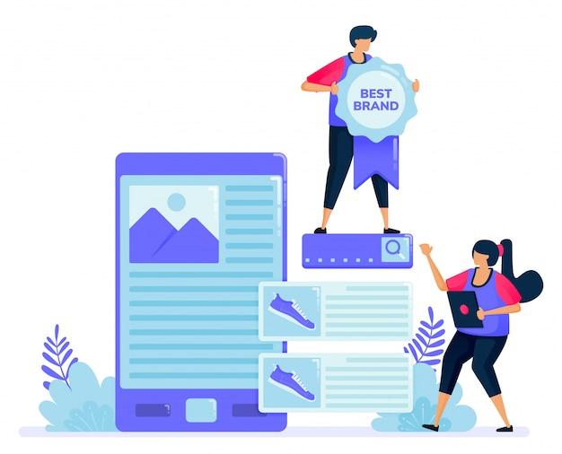 Illustrazione per cercare recensioni di prodotti per gli acquisti presso il negozio online. alla ricerca della migliore marca sulle recensioni degli acquirenti.