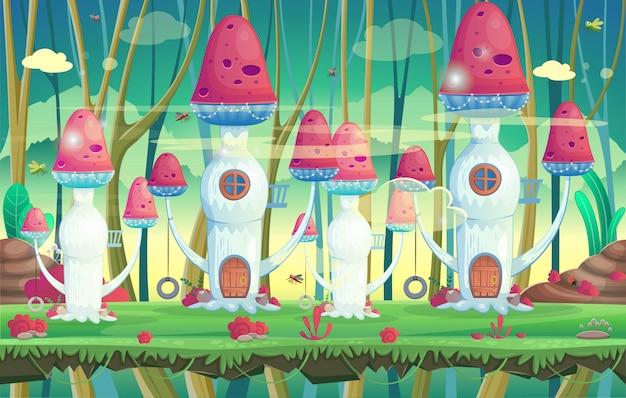 Illustrazione per i giochi. foresta con case dei funghi.