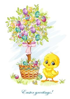 Illustrazione per il giorno di pasqua con un giovane pollo e albero di pasqua