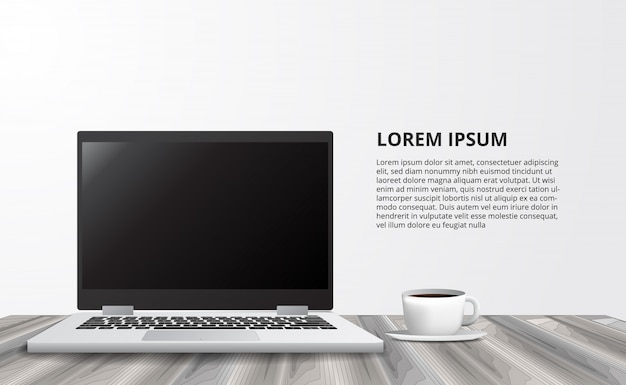 Illustrazione per l'ufficio di lavoro indipendente di concetto di affari con il taccuino del computer portatile dalla vista frontale