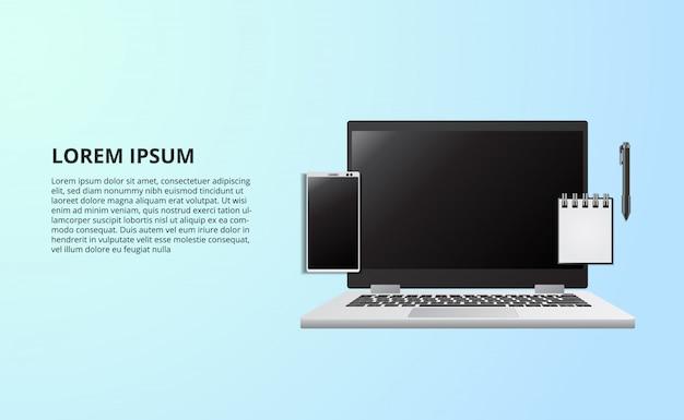 Illustrazione per l'ufficio di lavoro indipendente di concetto di affari con il taccuino del computer portatile dalla vista superiore