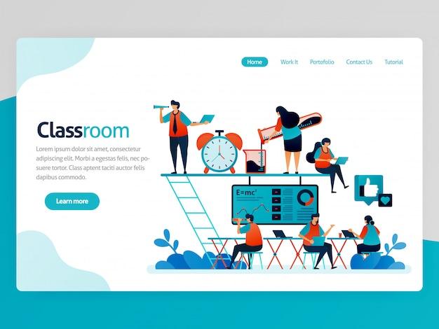 Illustrazione per la pagina di destinazione dell'aula. classe moderna e accogliente per i millennial. lezione piacevole. area di lavoro all'avvio e spazio di coworking. educazione divertente