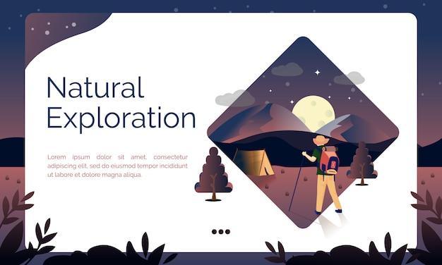 Illustrazione per la pagina di destinazione, esplorazione naturale