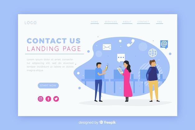Illustrazione per landing page con contattaci concetto