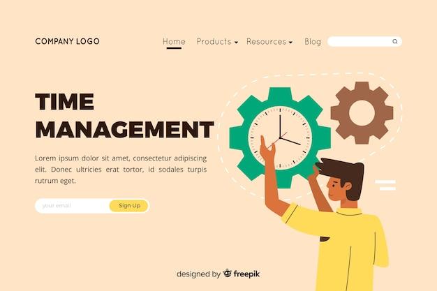 Illustrazione per landing page con il concetto di gestione del tempo