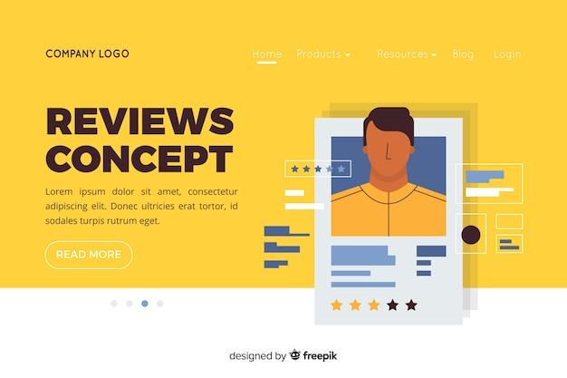 Illustrazione per landing page con il concetto di recensioni
