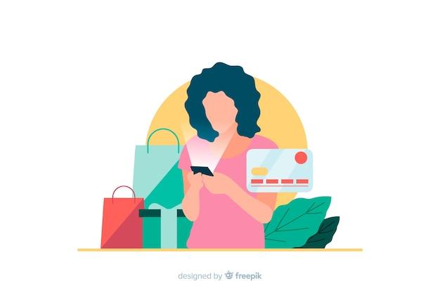 Illustrazione per landing page con il concetto di shopping online