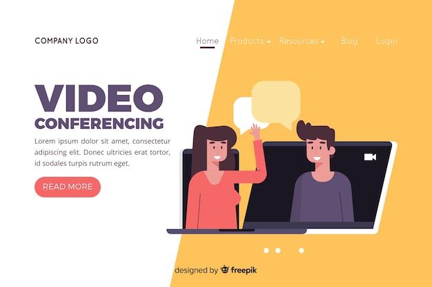 Illustrazione per landing page con il concetto di videoconferenza