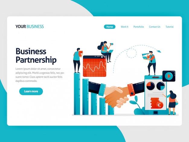 Illustrazione per landing page di collaboration per ottenere profitti e opportunità. grafico a barre e diagramma. grafico finanziario mobile. analisi aziendale