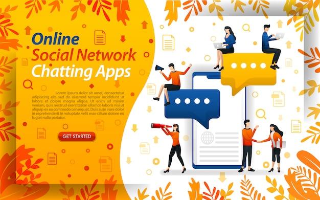 Illustrazione per le app di chat di social network online con carattere piatto