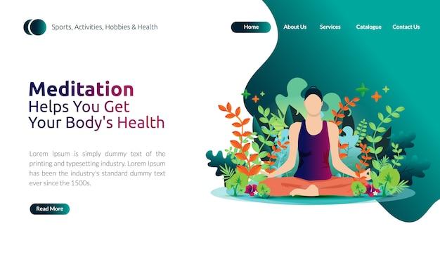 Illustrazione per modello di pagina di destinazione - donne che fanno meditazione per ottenere la salute del suo corpo