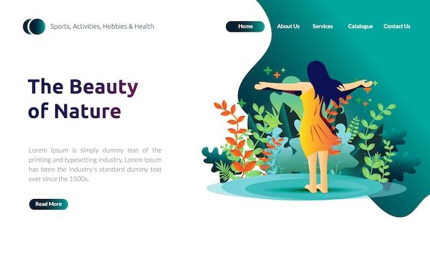 Illustrazione per modello di pagina di destinazione: le donne sentono l'aria fresca e la bellezza della natura