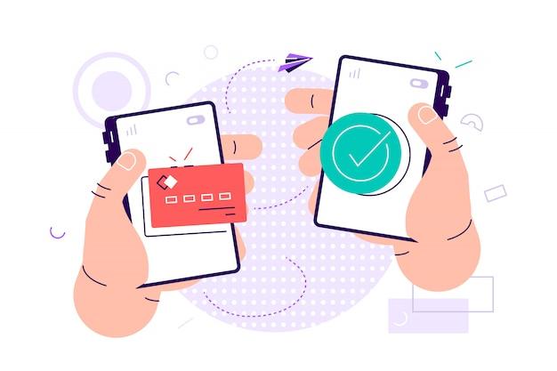 Illustrazione per trasferimento di denaro mobile