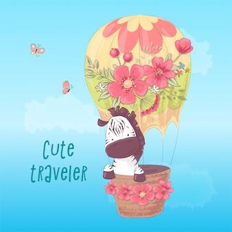 Illustrazione per una stanza per bambini - zebra carina in un palloncino