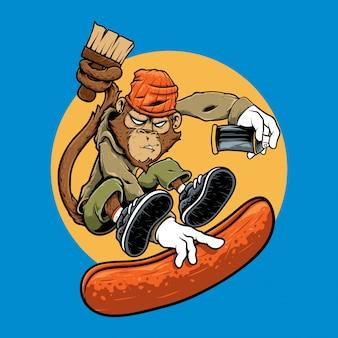 Illustrazione personaggio scimmia salto graffiti riding skate board