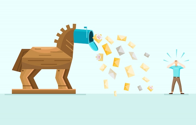 Illustrazione piana allegoria di trojan spam mail