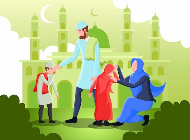Illustrazione piana che rappresenta i genitori musulmani che stringono le mani con i loro bambini per il perdono il giorno di eid mubarak