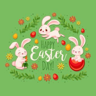 Illustrazione piana dei coniglietti di pasqua svegli
