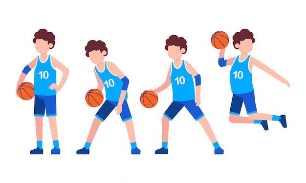 Illustrazione piana del carattere di pallacanestro
