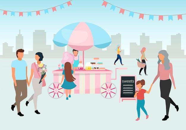 Illustrazione piana del carrello dell'alimento dello zucchero filato e dei dolci. carrello del mercato di strada. pasticceria all'aperto, prodotti da forno. la gente cammina fiera estiva. festival, bancarella del mercato di carnevale rosa con dolci e pasticceria