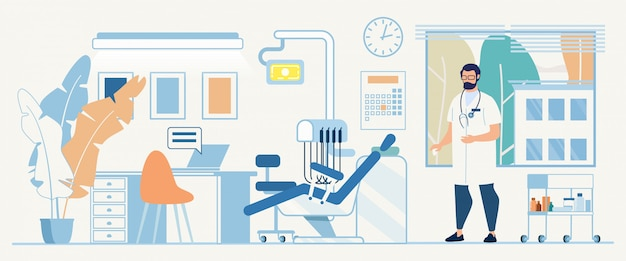 Illustrazione piana del dottore office cartoon interior