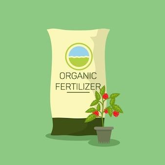 Illustrazione piana del fertilizzante delle piante organiche