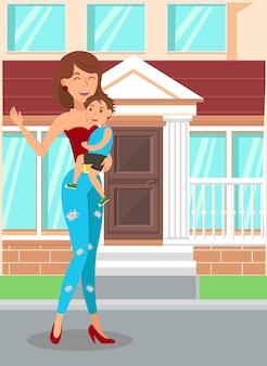 Illustrazione piana del figlio felice della tenuta della madre