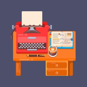 Illustrazione piana del fondo realistico di organizzazione del posto di lavoro della macchina da scrivere