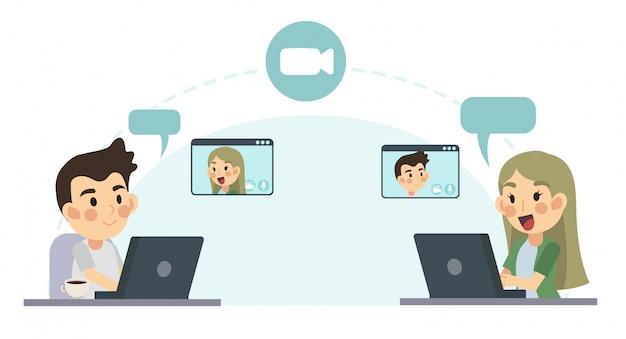 Illustrazione piana del fumetto del concetto di video chiamata, rete globale. uomo e donna stanno parlando e videochiamando tramite l'applicazione internet. lavorare da casa. a distanza.