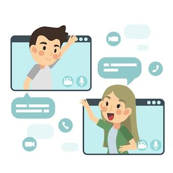 Illustrazione piana del fumetto del concetto di video chiamata, rete globale. uomo e donna stanno parlando e videochiamando tramite l'applicazione internet.