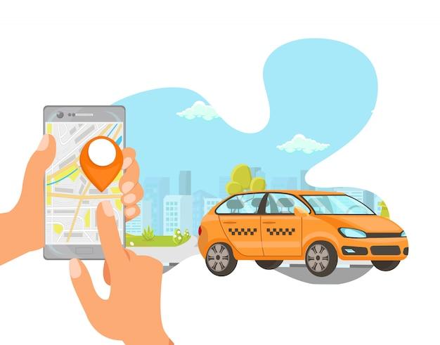 Illustrazione piana del fumetto di vettore del taxi di ordinazione