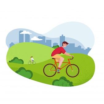 Illustrazione piana del fumetto di vettore - uomo di guida della bicicletta. parco, alberi e colline