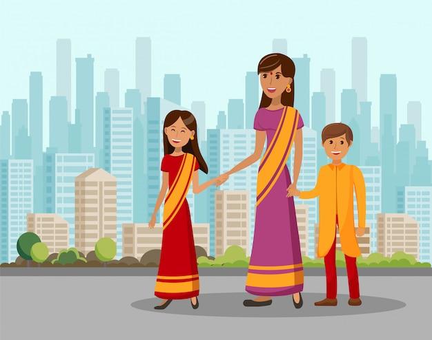 Illustrazione piana del fumetto di viaggio indiano della famiglia