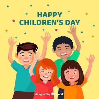 Illustrazione piana del giorno dei bambini del desgin