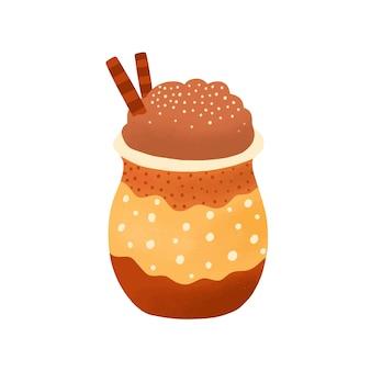 Illustrazione piana del latte della spezia della zucca. deliziosa bevanda al caffè isolato su sfondo bianco. cocktail dolce con cannella, bastoncini di caramello e panna montata. prodotto cafe, elemento di design del menu.